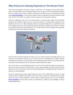 Why Drones Are Gaining Popularity In The Recent Time!