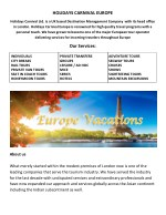 """DMC Company for Europe """"Holidays Carnival for the tour company best site for the tour"""
