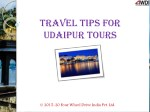 Travel Tips for Udaipur Tours