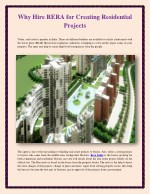 Why Hire RERA for Creating Residential Projects