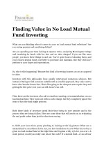 Finding Value in No Load Mutual Fund Investing