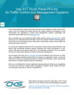 Use S17 Touch Panel PCs for Air Traffic Control and Management Systems