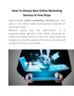 How To Choose Best Online Marketing Services In Few Steps