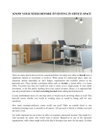 Know Your Needs Before Investing In Office Space