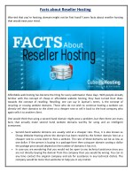 Facts about Reseller Hosting