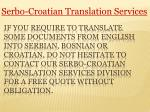 Fast and Accurate Serbo-croatian Translation Services