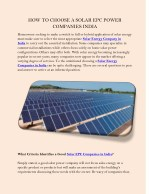 HOW TO CHOOSE A SOLAR EPC POWER COMPANIES INDIA
