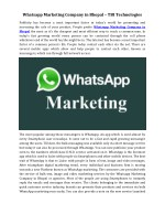 Whatsapp Marketing Company in Bhopal – TBI Technologies
