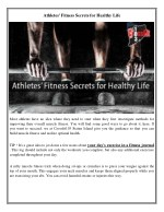 Athletes' Fitness Secrets for Healthy Life