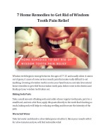 7 Home Remedies to Get Rid of Wisdom Tooth Pain Relief