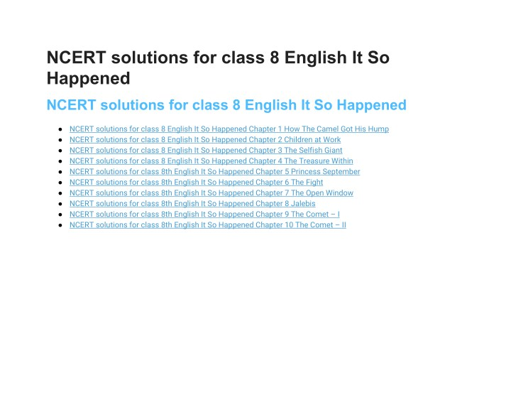 ncert solutions for class 8 english it so happened n.