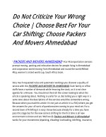 Do Not Criticize Your Wrong Choice | Choose Best For Your Car Shifting; Choose Packers And Movers Ahmedabad