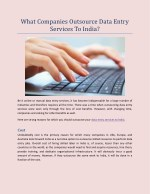 What Companies Outsource Data Entry Services To India?