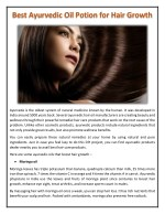 Best Ayurvedic Oil Potion for Hair Growth