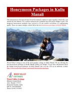 Honeymoon Packages in Kullu Manali