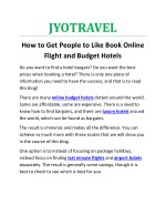 How to Get People to Like Book Online Flight and Budget Hotels