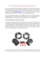Decide on Lift Kit for Repairing Your Car