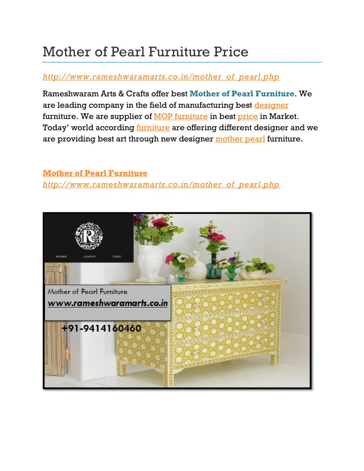 mother of pearl furniture price n.