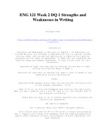 ENG 121 Week 2 DQ 1 Strengths and Weaknesses in Writing