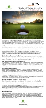 Useful Tips For Golf Clubs To Organize their Golf Charity Days