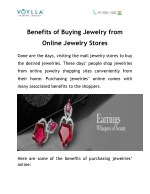 Benefits of Buying Jewelry from Online Jewelry Stores