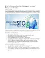 How to Choose a Good SEO Company for Your Business or Website