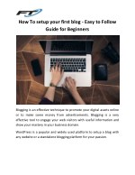 How To setup your first blog - Easy to Follow Guide for Beginners