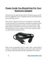 Power Cord You Should Use For Your Electronic Gadgets