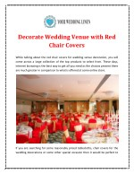 Decorate Wedding Venue with Red Chair Covers