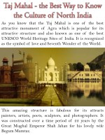 Taj Mahal - the Best Way to Know the Culture of North India