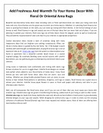 Add Freshness And Warmth To Your Home Decor With Floral Or Oriental Area Rugs