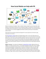 How Social Media can help with PR