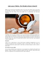Anti-cancer Tablets –Few Details to Know About It