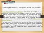 Shifting home in the Malaysia without any trouble | FLY Star Movers