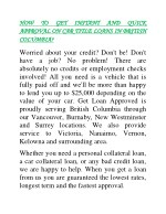 Instant way to get quick approval on car title loans in British Columbia