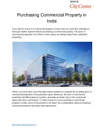 Important Pointers about Purchasing Commercial Property in Urban Centres in India