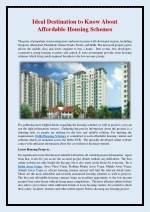 Ideal Destination to Know About Affordable Housing Schemes
