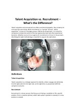 Talent Acquisition vs. Recruitment - What's the Difference?