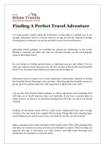 Finding A Perfect Travel Adventure