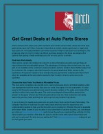 Get Great Deals at Auto Parts Stores
