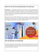 What Are The Two Key Health Benefits of Cryotherapy?