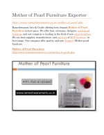 Mother of Pearl Furniture Exporter