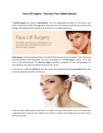 Restore Your Fresh, Youthful Appearance through Face Lift Surgery