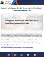 Coconut Milk Powder Market Size to 2022 Analysis by Applications and Types