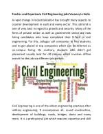 Fresher and Experience Civil Engineering jobs Vacancy in India