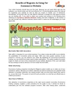 Benefits of Magento As Using For Ecommerce Website