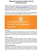 Magento Ecommerce Helps You For Online Business