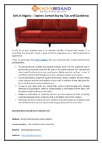 Sofa in Nigeria – Explore Certain Buying Tips and Guidelines
