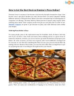 How to Get the Best Deal on Domino's Pizza Online?