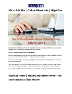 Micro Job Site | Online Micro Jobs | Gigs4five